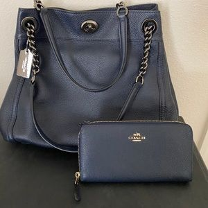 Navy Coach Purse & Wallet Set With Dust Bag.